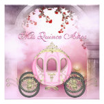 Pink Princess Carriage Enchanted Quinceanera Personalized Invitation