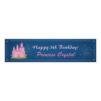 Pink Princess Castle Birthday Party Banner Poster