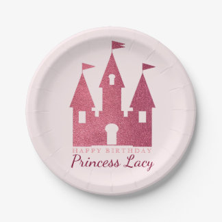 Pink Princess Castle Birthday Party Paper Plate