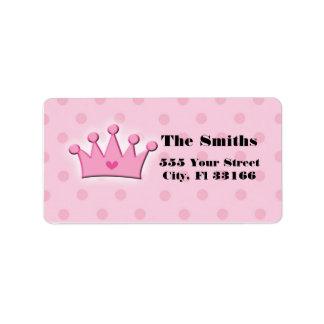 Pink Princess Crown Adress Labels Polka Dots