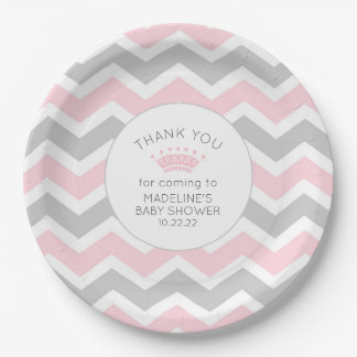 Pink Princess Crown baby shower decor Paper Plate