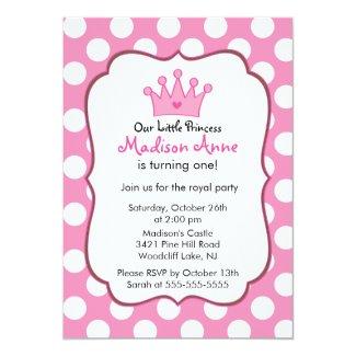 Pink Princess Crown Birthday Party Invitation