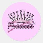 Pink Princess Crown Classic Round Sticker