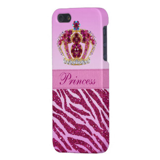 Pink Princess Crown Glitter Zebra Print iPhone 5 Cases