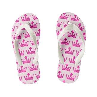 Pink Princess Crown Print Kid's Flip Flops