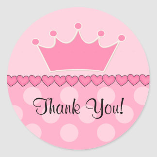 Pink Princess Crown Thank You Sticker