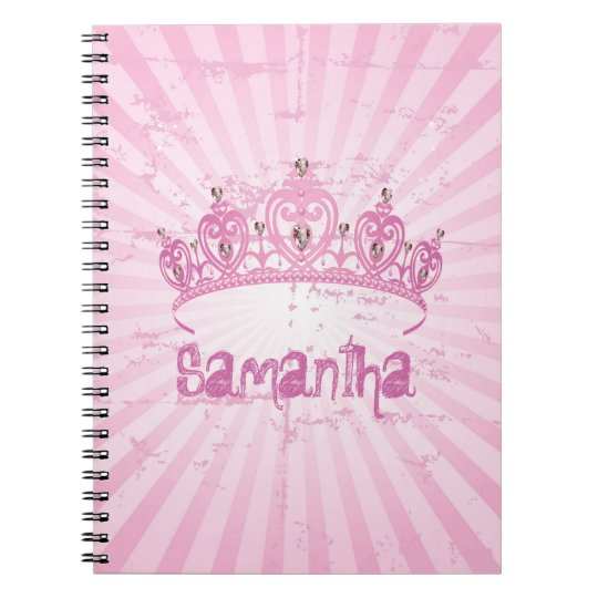 Pink Princess Crown Tiara Jewelled Spiral Notebook