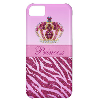 Pink Princess Crown Zebra Glitter Print iPhone 5C Cover