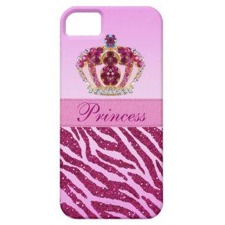 Pink Princess Crown Zebra Glitter Print iPhone 5 Cases