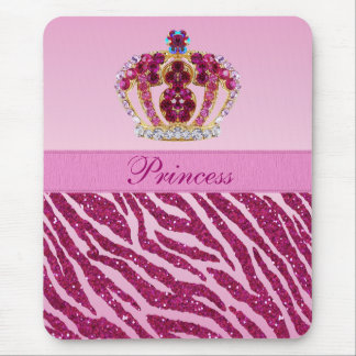 Pink Princess Crown Zebra Glitter Print Mousepad