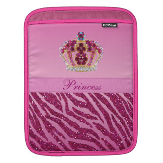 Pink Princess Crown Zebra Print iPad Sleeve