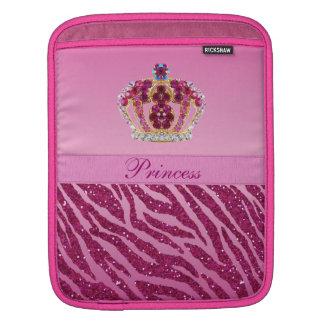 Pink Princess Crown Zebra Print Sleeve For iPads