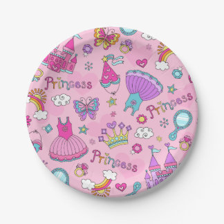 Pink Princess Custom Paper Plates 7""