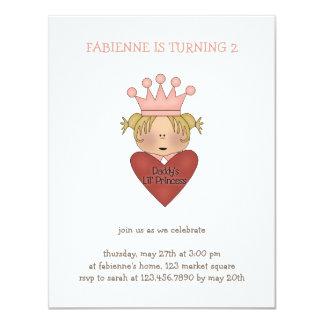 "Pink Princess · Daddy's Lil' Princess 4.25"" X 5.5"" Invitation Card"
