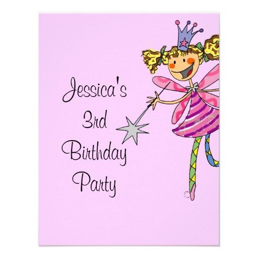 pink princess fairy 3rd birthday girl personalized invitation