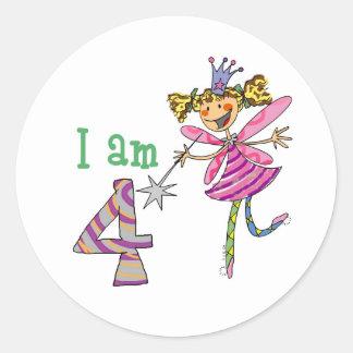 Pink princess fairy (age 4) classic round sticker