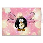 Pink Princess Fairy Penguin Greeting Card