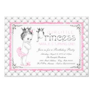 Pink Princess First Birthday Party 13 Cm X 18 Cm Invitation Card