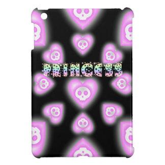 Pink Princess Hearts and Skulls ipad mini case