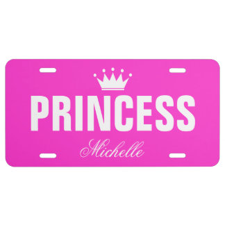 Pink princess license plate with personalized name license plate