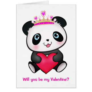 Pink Princess Panda Heart Valentine Cute Girl Card