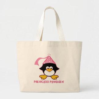 Pink Princess Penguin Jumbo Tote Bag