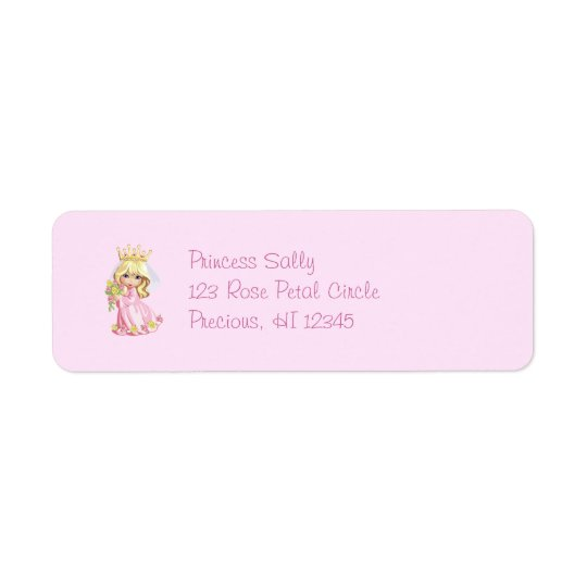 Pink Princess Personalised Return Address Label