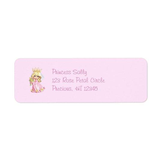 Pink Princess Personalised Return Address Label