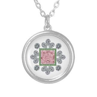 Pink Princess Pin Round Pendant Necklace