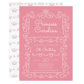 Pink Princess Scroll Birthday Invitation