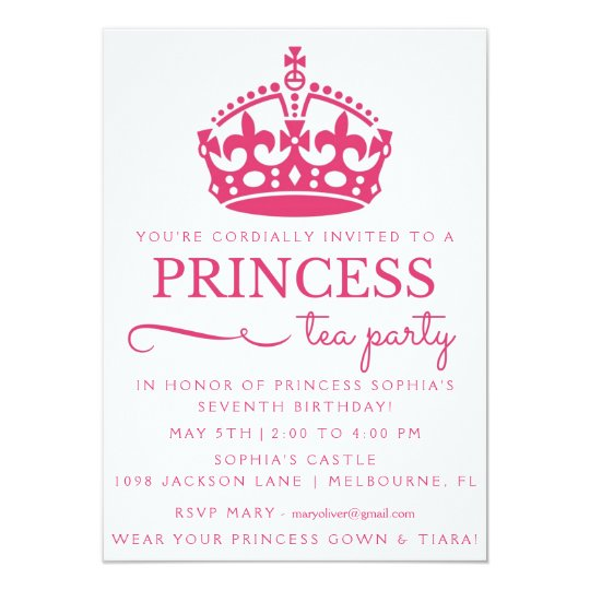Pink Princess Tea Party Birthday Invitations