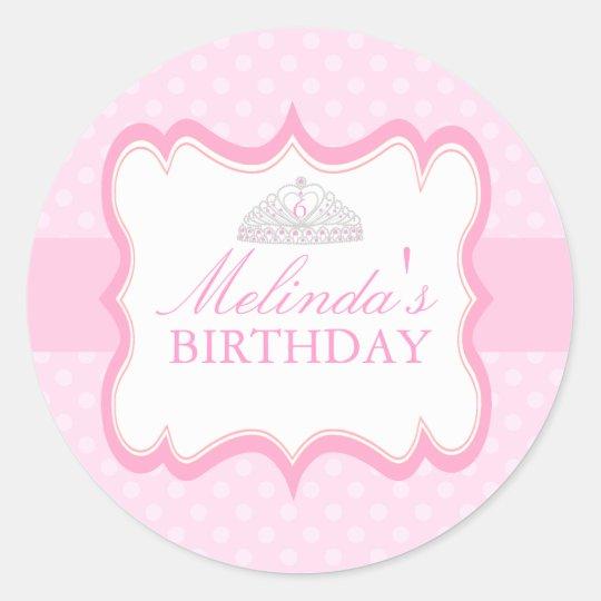 Pink Princess Tiara Girls Birthday Sticker
