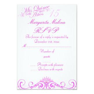 Pink Princess Tiara Quinceanera RSVP 9 Cm X 13 Cm Invitation Card
