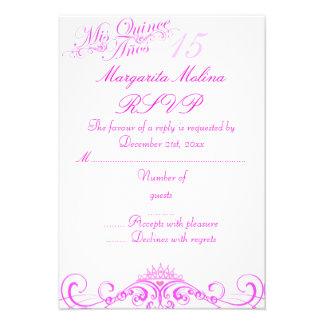 Pink Princess Tiara Quinceanera RSVP Invites
