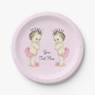 Pink Princess Twin Baby Girl Paper Plate