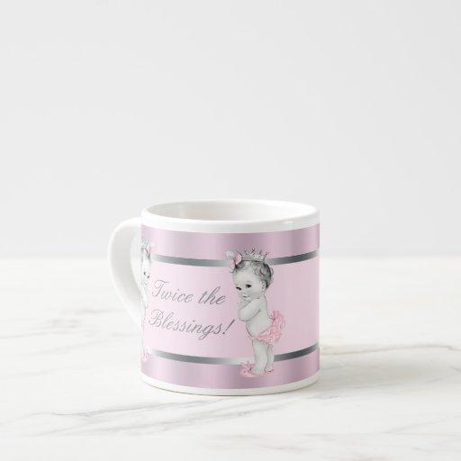 Pink Princess Twin Girl Baby Cups Espresso Mugs