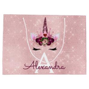 Pink Princess Unicorn Rose Gold Blush Pink Glitter Large Gift Bag