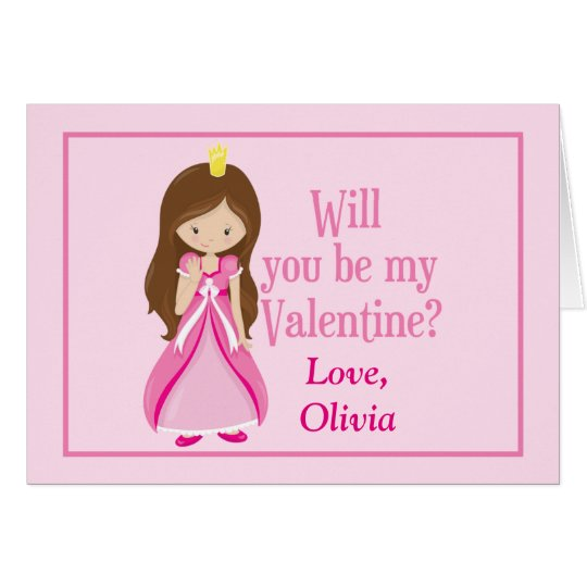 Pink Princess Valentine's Day Customisable Card