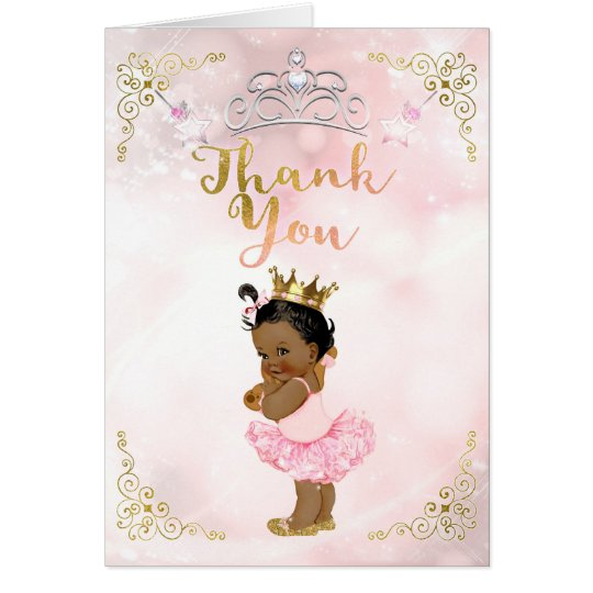 Pink Princess Vintage Baby Girl Ethnic Thank You