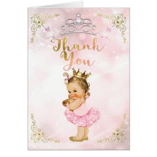Pink Princess Vintage Baby Girl Light Thank You Card