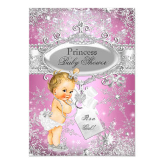 Pink Princess Winter Wonderland Baby Shower Blonde Card