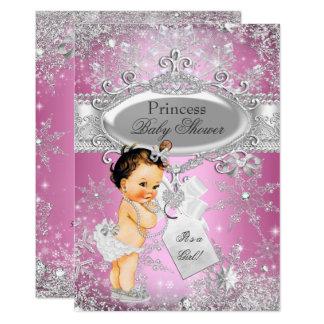 Pink Princess Winter Wonderland Baby Shower Brown Card