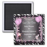 Pink Princess Zebra Baby Shower Save The Date Square Magnet