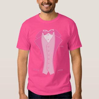 Pink Print Tuxedo Tee Shirt