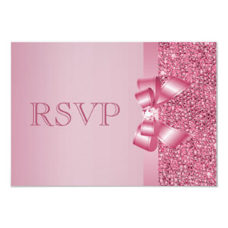Pink Printed Sequins Bow & Diamond RSVP 9 Cm X 13 Cm Invitation Card