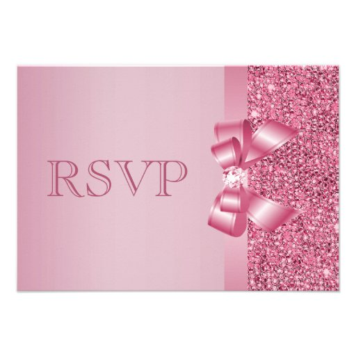 Pink Printed Sequins Bow & Diamond RSVP Personalized Invites