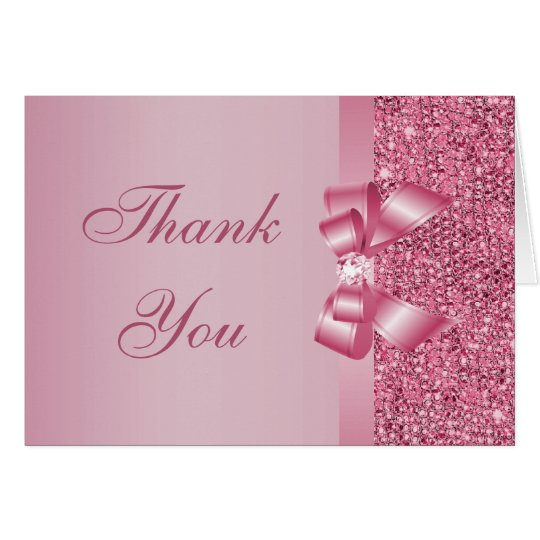 Pink Printed Sequins Bow & Diamond Thank You