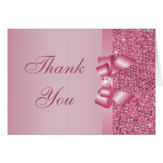 Pink Printed Sequins Bow & Diamond Thank You Note Card