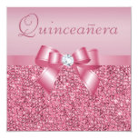 Pink Printed Sequins & Bow Quinceanera