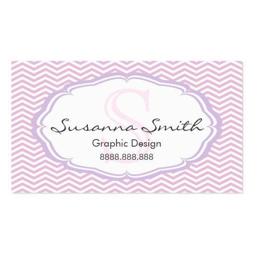 Pink professional card of monograma and chevrón business card template